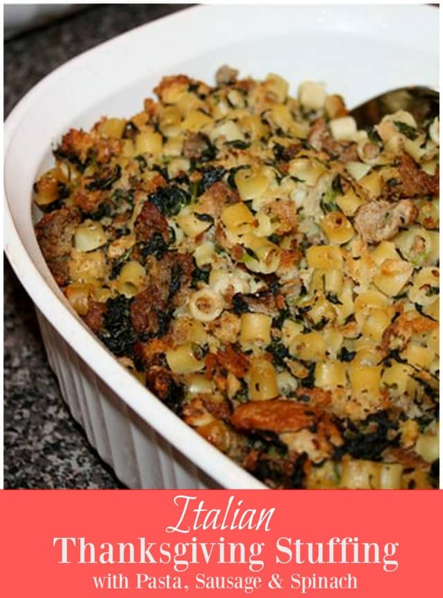My family's Italian stuffing is one of my favorite parts of Thanksgiving! Ditalini pasta, crumbled sausage and spinach makes it unique and extra delicious!