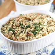 My family's Italian Stuffing recipe made with sausage, pasta and spinach