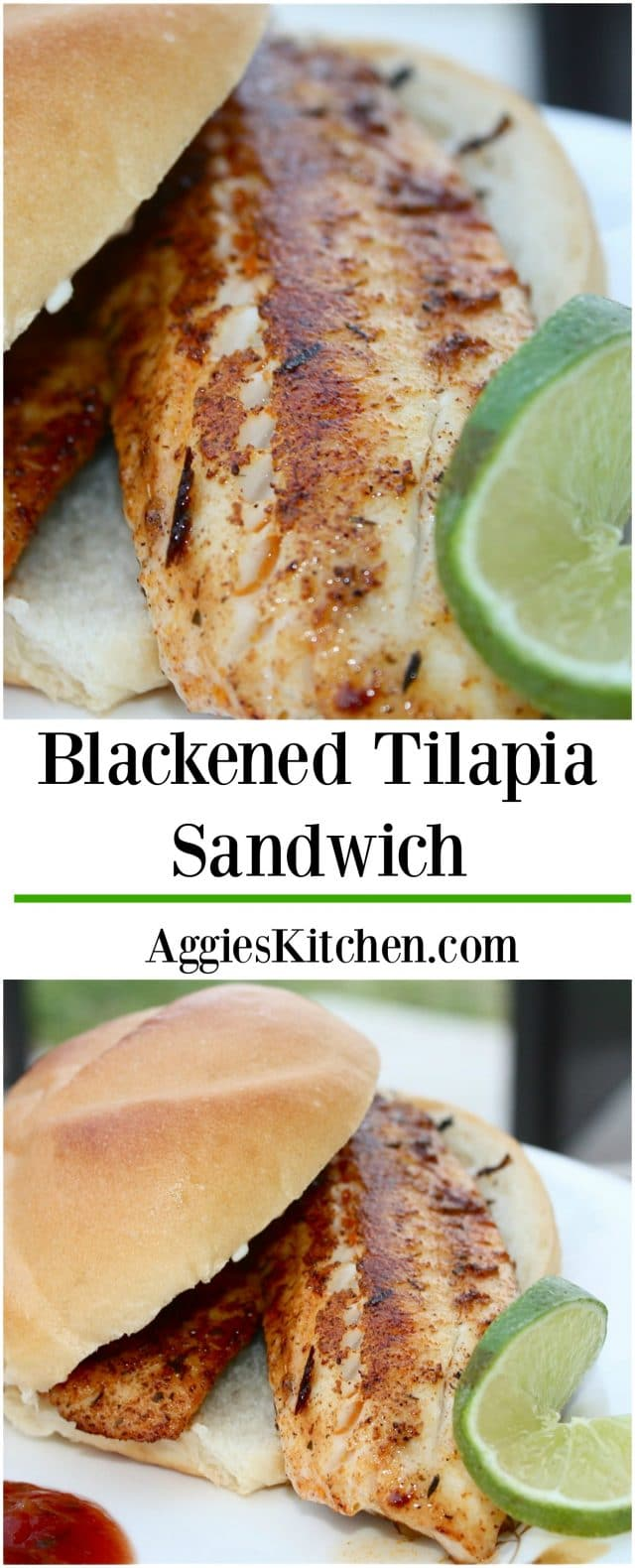 This Blackened Tilapia Sandwich with Cilantro Lime Mayonnaise is a great weeknight meal. Serve on salad for low carb option.