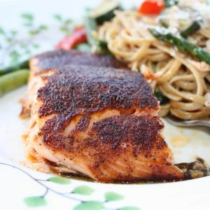 This healthy Salmon with Sweet Spicy Rub is the perfect recipe to introduce salmon to your family! Full of flavor, packed with protein & easy to make! An Ellie Krieger recipe via aggieskitchen.com
