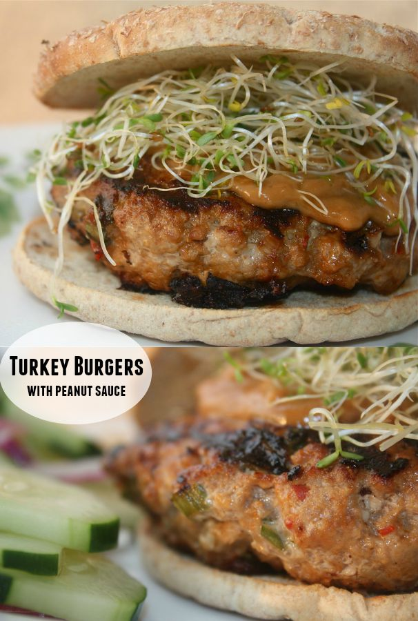 Turkey Burgers with Peanut Sauce from Cooking Light - creamy peanut sauce and sprouts add a delicious twist to these juicy healthy turkey burgers!