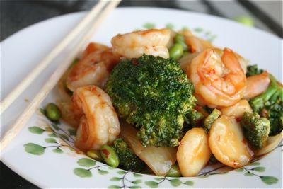 Shrimp, Broccoli and Edamame Stir Fry