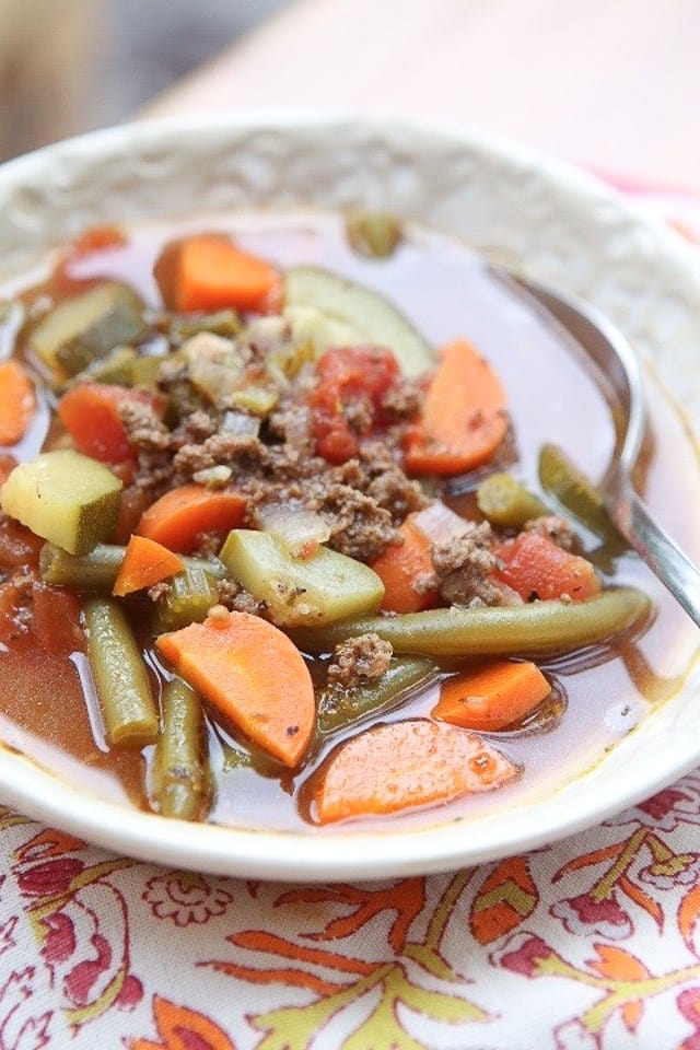 Total comfort food! Lean beef, vegetables seasoned with Italian herbs, this Italian Vegetable Beef soup can be served with or without pasta for an easy weeknight meal.