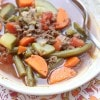Healthy comfort food! Lean beef, vegetables seasoned with Italian herbs, this Italian Vegetable Beef soup can be served with or without pasta for an easy weeknight meal.