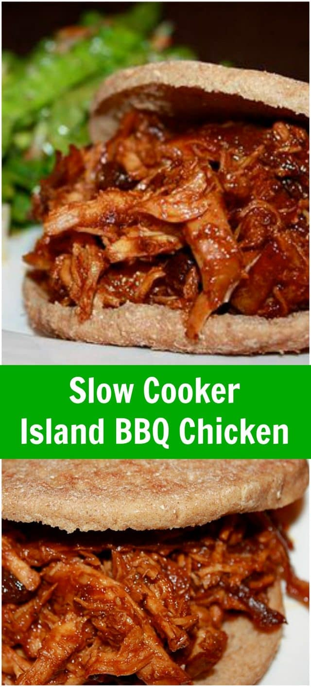 Slow Cooker Island BBQ Chicken Sandwiches - an easy way to get dinner on the table. A fruity twist on your shredded barbecue chicken! Recipe via aggieskitchen.com