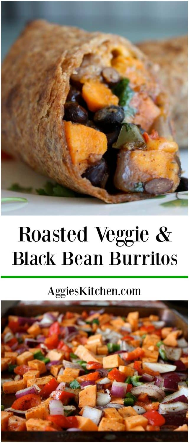 Savory sweet Roasted Veggie and Black Bean Burritos are a delicious vegetarian meal even meat lovers will enjoy!