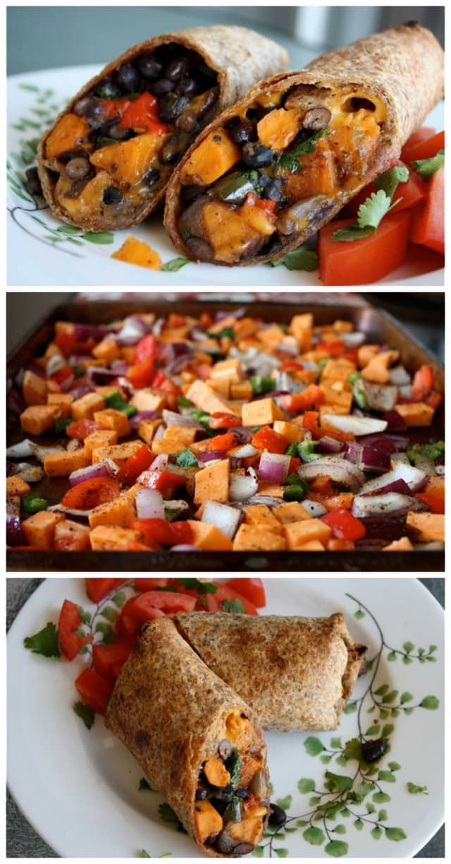 Roasted Veggie and Black Bean Burritos || Aggie's Kitchen