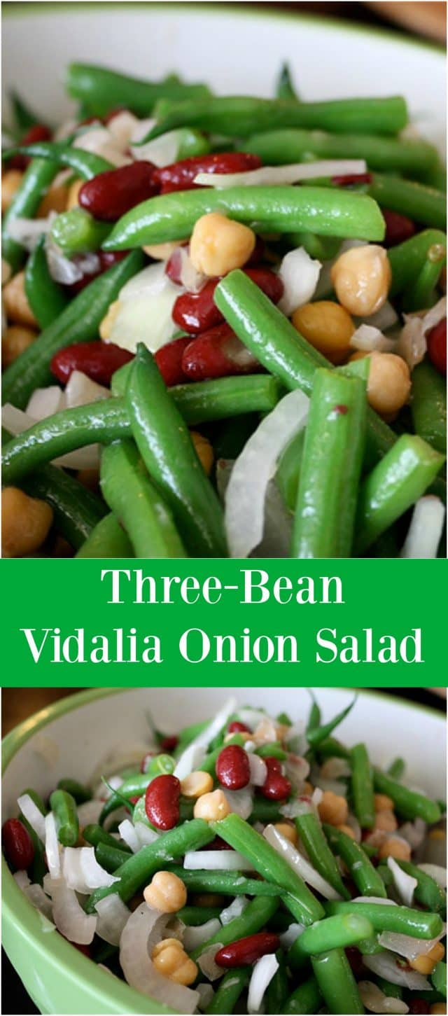 One of my favorite summer salads! Three Bean Vidalia Onion Salad, this recipe is a perfect side dish for barbecues. Recipe via aggieskitchen.com