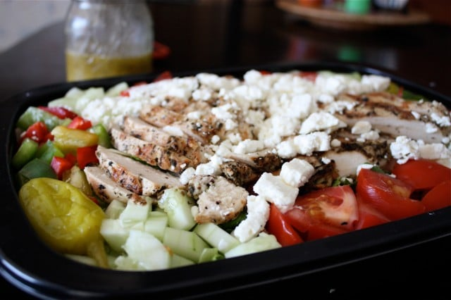 grilled chicken with pepperoncini, diced cucumbers, diced tomatoes, topped with feta cheese
