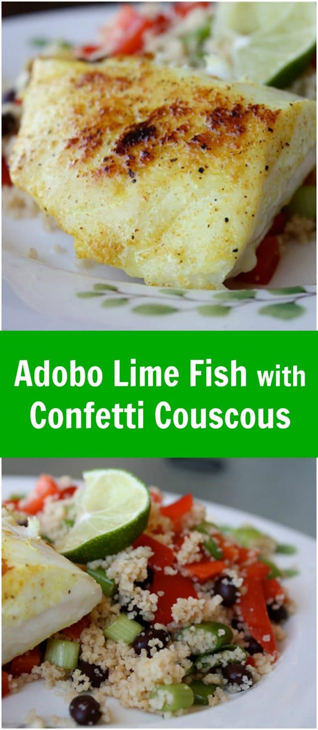 close ups of adobo red snapper and confetti couscous