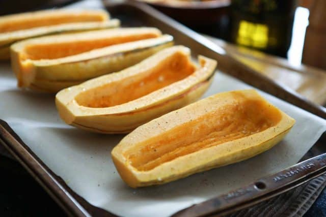 Angela's Stuffed Roasted Delicata Squash is flavorful and healthy vegetarian dish that can be served as a meal, or side dish.
