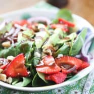 This Spinach Strawberry and Walnut Salad with Raspberry Balsamic Vinaigrette is classic - and full of nutrition! One of my favorite salads ever.