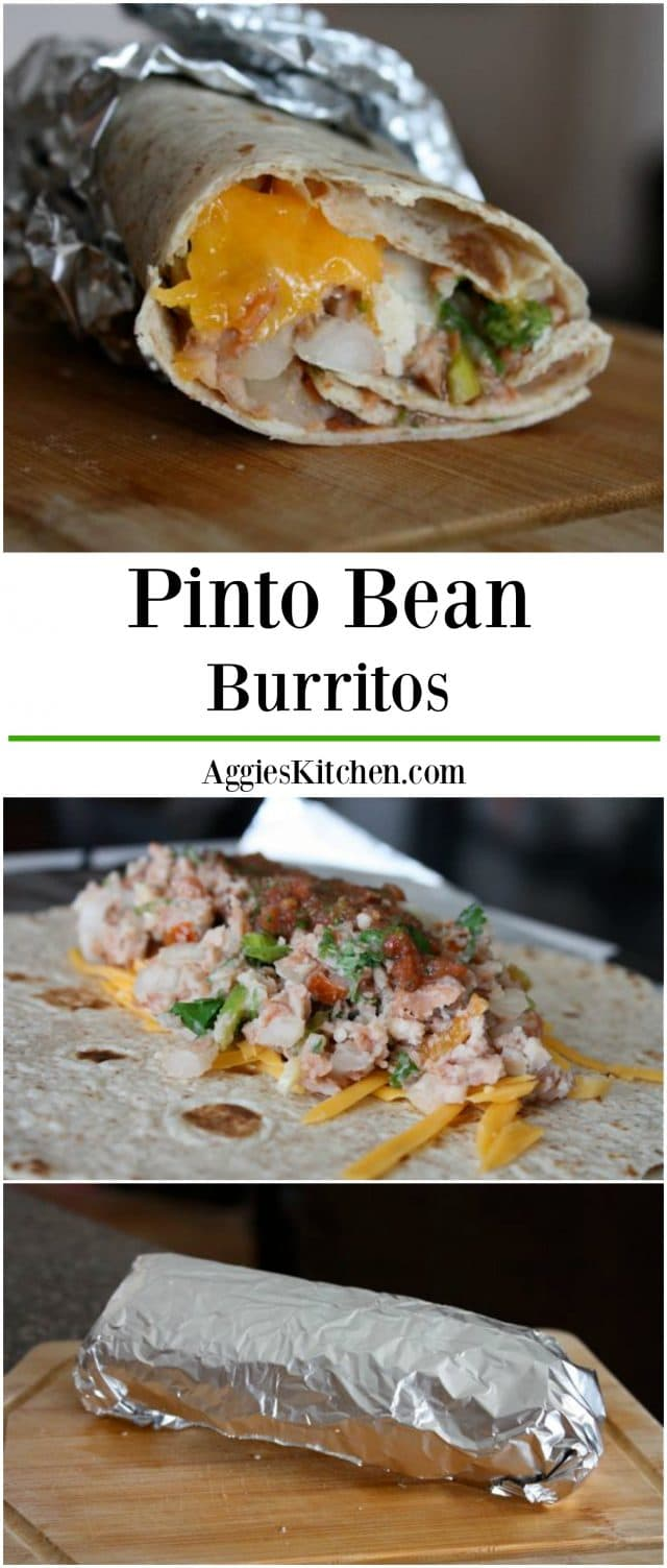 Pinto Bean Burritos make for great vegetarian lunches or dinners. Simple to make and even better for when you need something to grab for on-the-go!