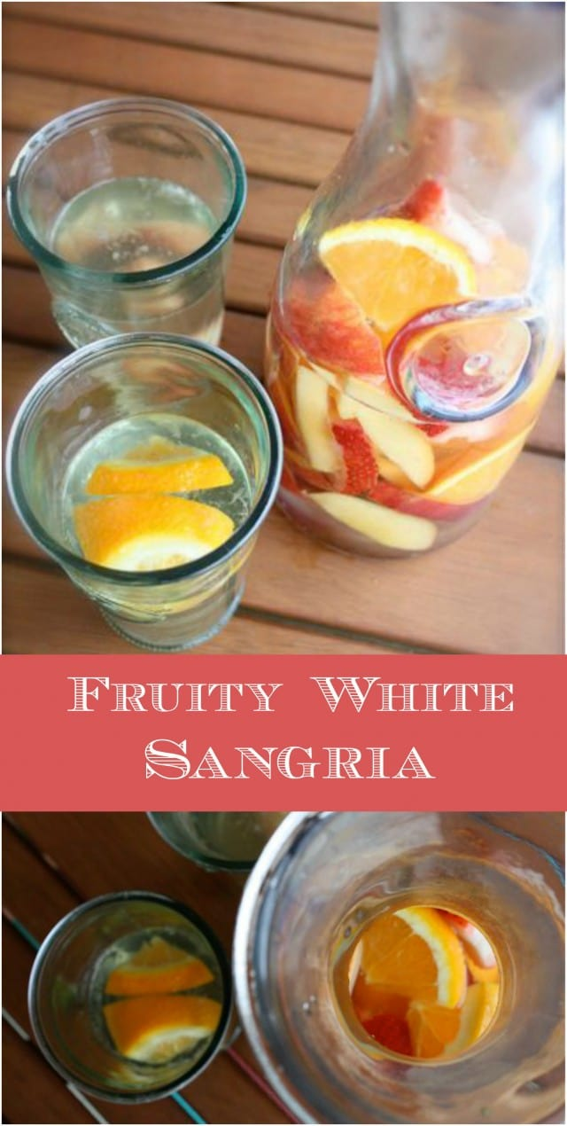 Summer White Sangria - a simple, fruity wine cocktail perfect for sharing on a warm summer afternoon!
