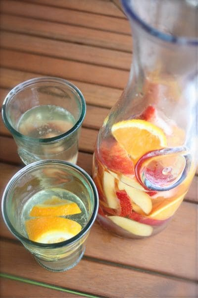 Start your weekend off with this simple Fruity White Sangria beverage. Perfect for sharing on a hot summer afternoon.