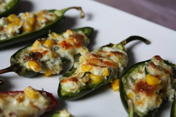 These Cheesy Corn Stuffed Jalapenos makes a great party snack, especially during football season.