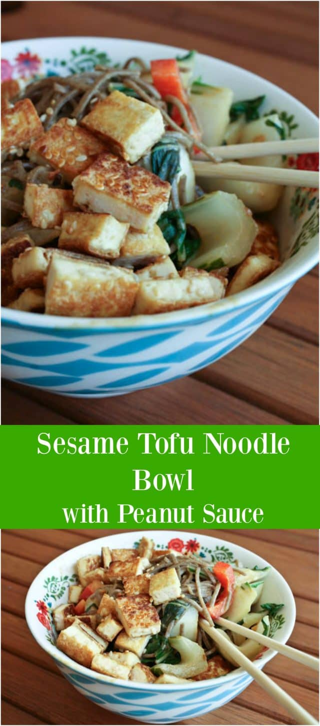 Sesame Tofu Noodle Bowl with Peanut Sauce - recipe via aggieskitchen.com
