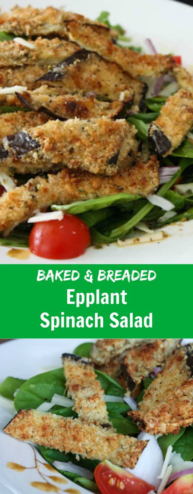 Baked and Breaded Eggplant topped Spinach Salad with mozzarella and tomatoes - this is the Italian Salad of my dreams!