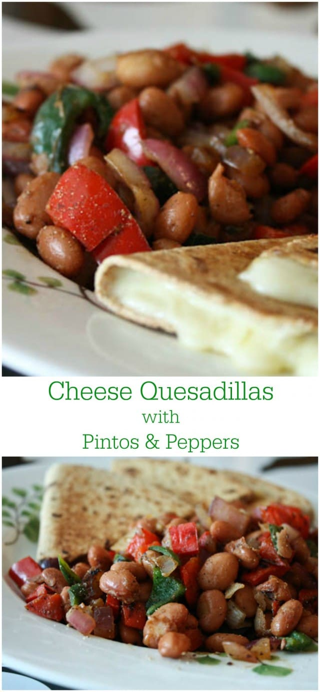 Cheese Quesadillas with Pinto Beans and Peppers - an easy, flavorful vegetarian meal. Great for the whole family!