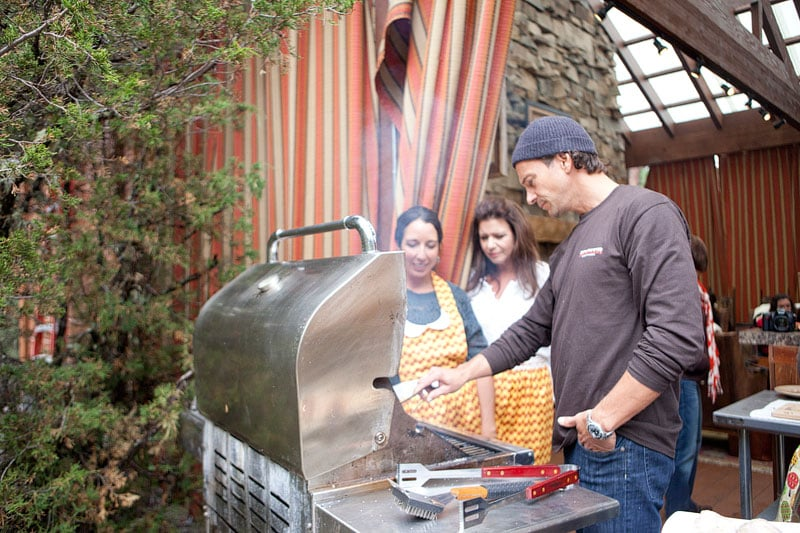 Aggie, Sandy, & Jeffrey grilling
