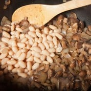 Mushrooms and Beans in Sautee Pan