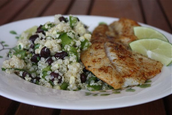 Chili Rubbed Fish With Quinoa Black Bean And Corn Salad