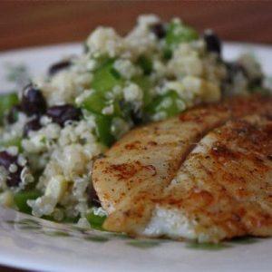 Chili Rubbed Fish with Quinoa, Black Bean and Corn Salad