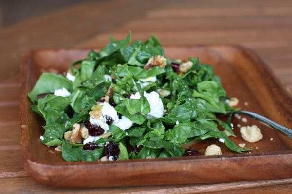 plate of kale topped with walnuts, cranberries, goat cheese, and vinaigrette