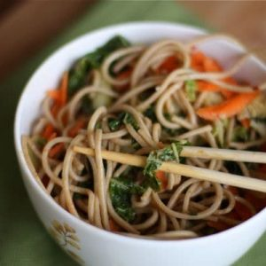 Stir Fried Soba Noodles with Napa Cabbage and Bok Choy