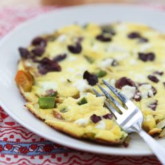 Breakfast, lunch or dinner for one! I love making frittatas for a quick meal, this Greek Pepper and Onion Frittata is one I make often! Recipe via aggieskitchen.com