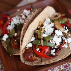 Grilled Chicken Sausage and Pepper Pita Sandwiches