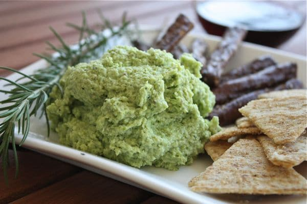 A beautiful springy dip recipe that's good for you! Serve this Edamame Dip with pumpernickel pretzel rods and triscuits.