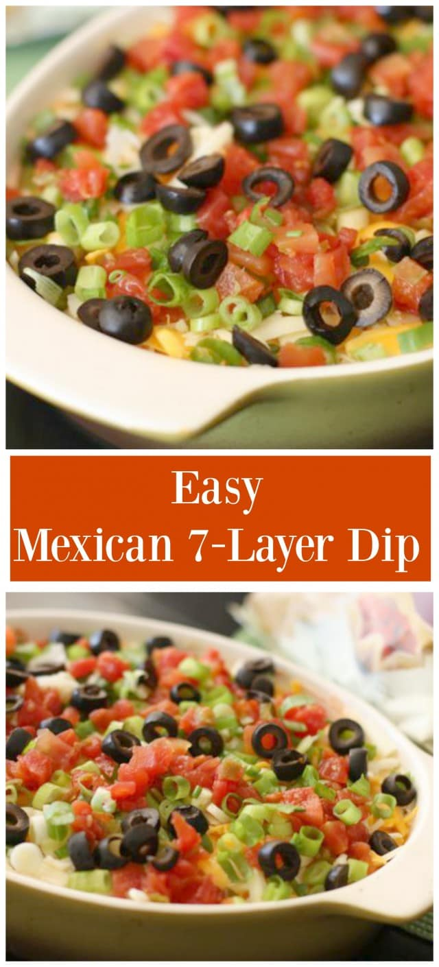Always a party hit! Serve this Mexican 7 Layer Dip with tortillas at your next get together.