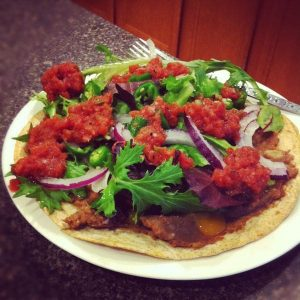 Refried Bean and Fresh Jalapeno Tostada