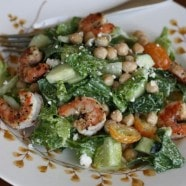 Bush's Mediterranean Caesar Salad with Lemon Pepper Shrimp and Garbanzo Beans