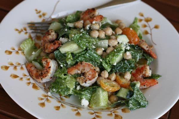Bush's Mediterranean Caesar Salad with Lemon Pepper Shrimp and Garbanzo Beans