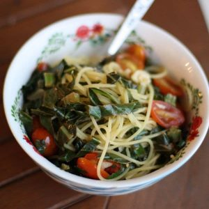 Quinoa Spaghetti with Garlicky Greens and Tomatoes