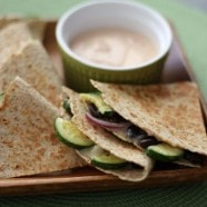 Zucchini, Red Onion and Black Bean Quesadillas