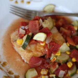 Mahi Mahi with Zucchini, Tomatoes and Corn