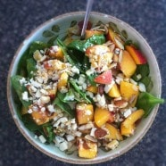 Peach Gorgonzola Spinach Salad