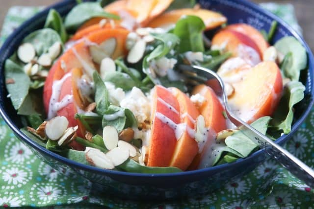 Your taste buds will be singing with this Spinach Salad with Peaches, Gorgonzola and Almonds. One of my favorite summer salads!