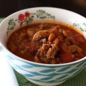 Turkey Chili with Bush's Pinto Beans and Mushrooms