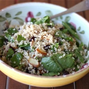 Nutty Quinoa, Spinach and Cranberry Salad