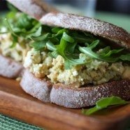 Lemony Chickpea and Avocado Sandwich with Feta and Arugula
