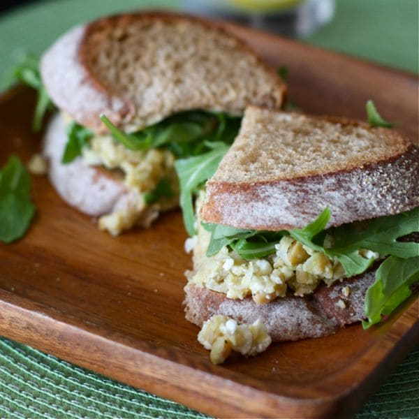 Lemony Chickpea and Avocado Sandwich with feta and arugula - a healthy vegetarian option for lunch or dinner!