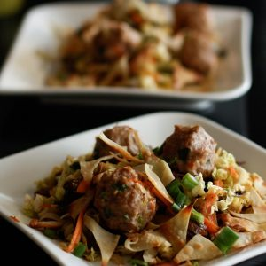 Asian Chopped Cabbage and Mushroom Salad With Panfried Wonton Crisps