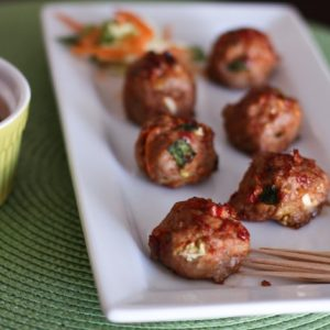 Asian Turkey Meatballs with Chili Garlic Glaze