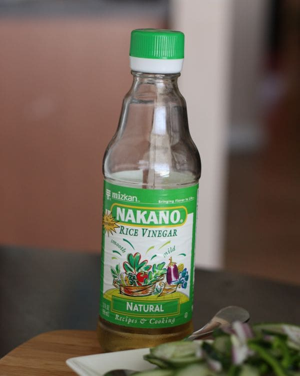 Nakano Rice Vinegar on cutting board