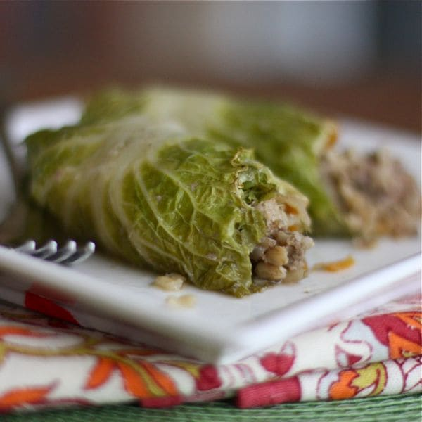 plate of cooked cabbage rolls stuffed with ground turkey and rice