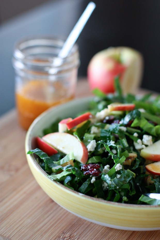 Kale And Chard Green Power Salad With Maple Vinaigrette